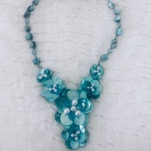 Turquoise Shell and Pearl Necklace